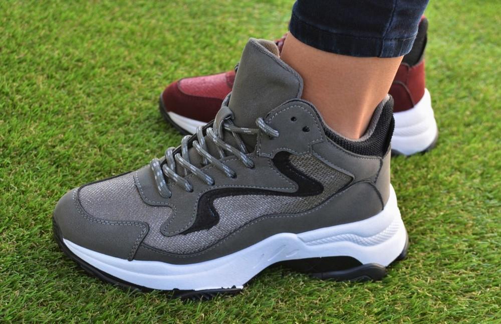 c9873abd Женские демисезонные высокие кроссовки fila gray серые adidas nike фото №1