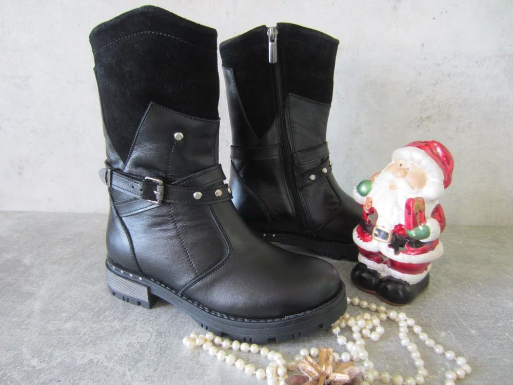Sale черные кожаные зимние сапожки на нат. овчине \ молния 33,34,36 р, качество lux фото №1