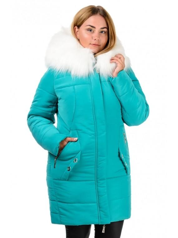 14ae071ea44 Зимняя тёплая куртка- парка бирюза с опушкой