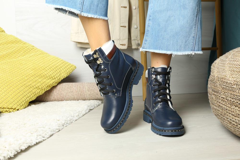 Теплющие зимние кожаные ботинки на меху низкий ход, ботинки кожа зима фото №1