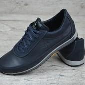 Мужские кожаные кроссовки Polo, р.40 - 45 код  1006син
