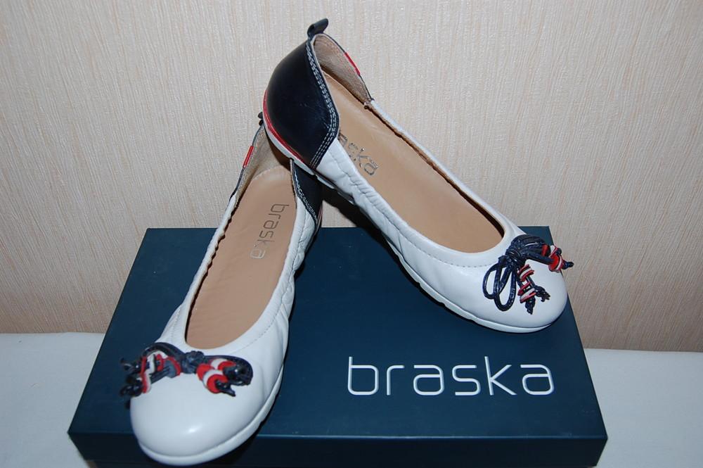 Акция. новые качественные кожанные туфли, балетки braska р. 35 фото №1