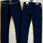 Теплые котоновые брюки на флисе для парней 134-164р