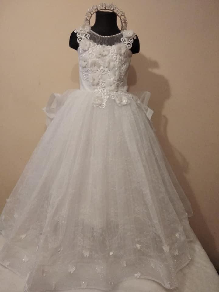 Очень красивое платье для девочки на выпускной (хвост из воланов) фото №1