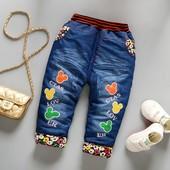 теплые зимние джинсы на синтепоне р 80 -104 см