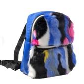Рюкзак с мехом на молнии, синий