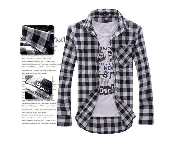 Рубашка в клетку мужская (черный - серый- белый) код 68 фото №1