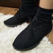 Мужские Черные демисезонные кроссовки с мехом верх кукурузка
