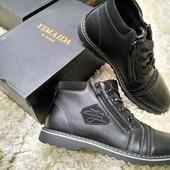 Мужские черные демисезонные ботинки на тонком меху