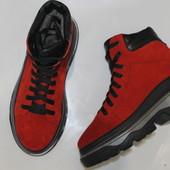 Крутые красные зимние кеды-ботинки, 36-40р