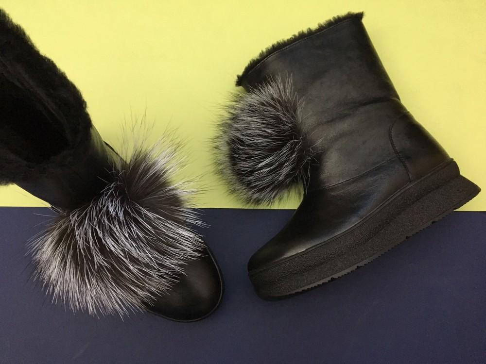 Скидка! зимние кожаные ботинки, угги, натуральная кожа, 2 цвета фото №11