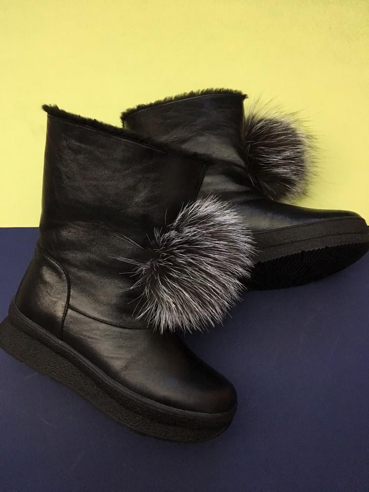 Скидка! зимние кожаные ботинки, угги, натуральная кожа, 2 цвета фото №13
