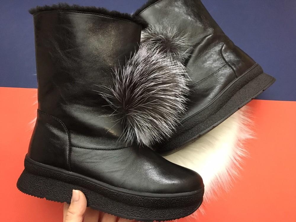 Скидка! зимние кожаные ботинки, угги, натуральная кожа, 2 цвета фото №16