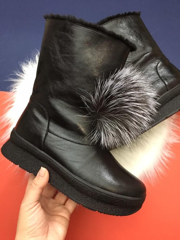 Скидка! зимние кожаные ботинки, угги, натуральная кожа, 2 цвета фото №15