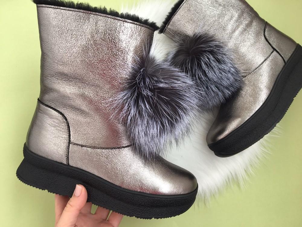 Скидка! зимние кожаные ботинки, угги, натуральная кожа, 2 цвета фото №3