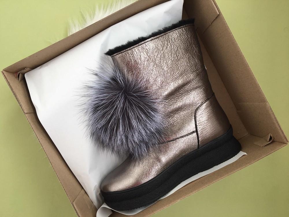 Скидка! зимние кожаные ботинки, угги, натуральная кожа, 2 цвета фото №4