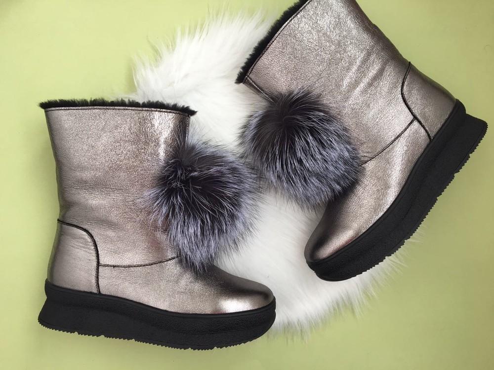 Скидка! зимние кожаные ботинки, угги, натуральная кожа, 2 цвета фото №5