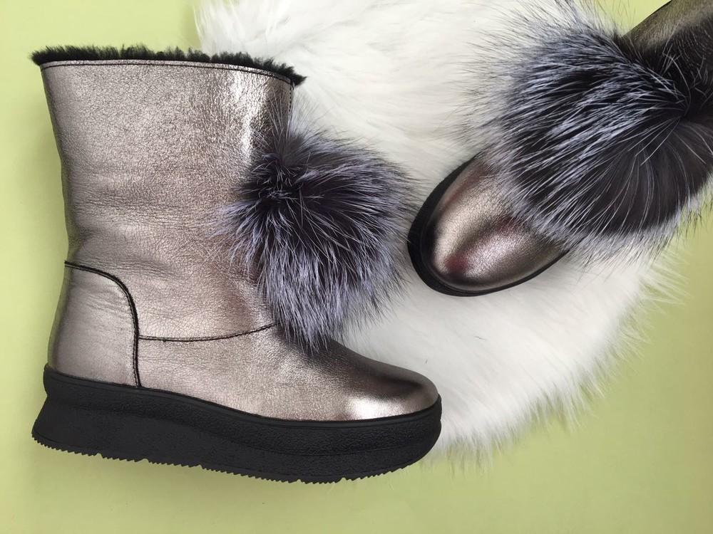 Скидка! зимние кожаные ботинки, угги, натуральная кожа, 2 цвета фото №6