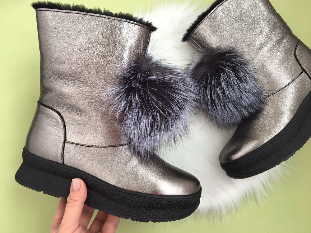 Скидка! зимние кожаные ботинки, угги, натуральная кожа, 2 цвета фото №7