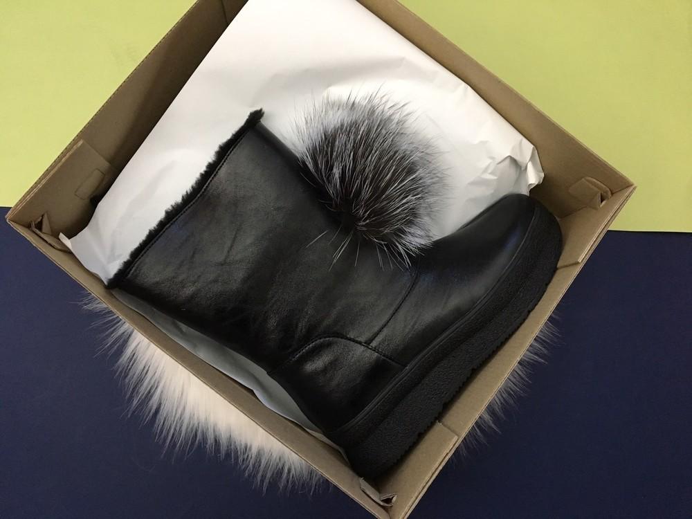 Скидка! зимние кожаные ботинки, угги, натуральная кожа, 2 цвета фото №8
