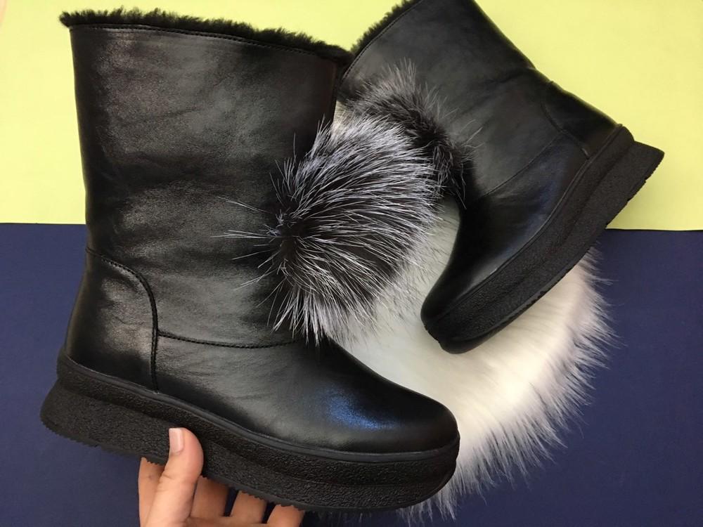 Скидка! зимние кожаные ботинки, угги, натуральная кожа, 2 цвета фото №9