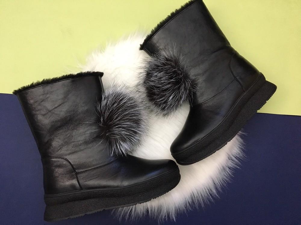 Скидка! зимние кожаные ботинки, угги, натуральная кожа, 2 цвета фото №10