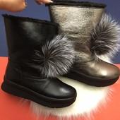 Зимние кожаные ботинки, угги, натуральная кожа, 2 цвета