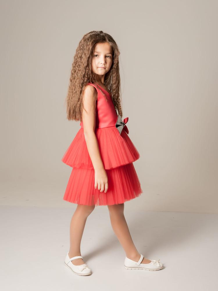Нарядное платье с пайеткой и с двухьярусной пышной юбкой красное фото №1