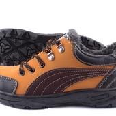 Кроссовки зимние утепленные мехом - оранжевые (АН-501)