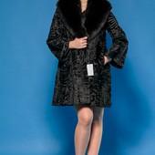 Шикарная шуба- пальто персидская каракульча и финский песец. Италия ,. 46-48 Saga Furs