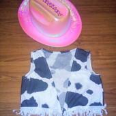 Карнавальный наряд ковбой Барби ковбойка шляпа жилетка