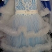 Детское новогоднее платье Снежная королева, возраст 6-9 лет опт и розница
