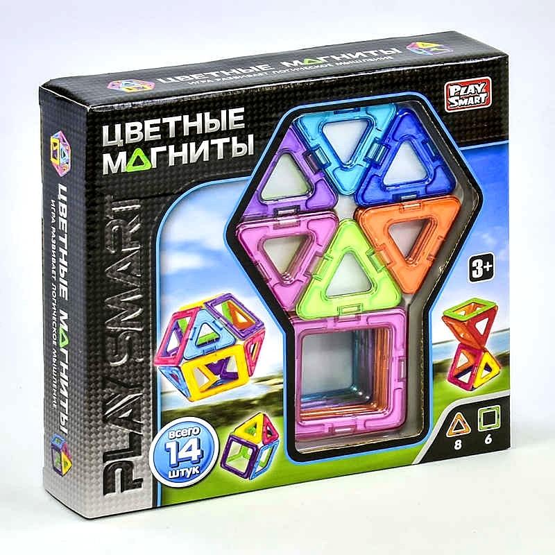 Конструктор магнитный 2425 (48) play smart 14 дет., 6 моделей, в коробке фото №1