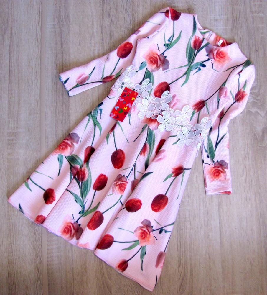 Р. 128-146 распродажа! детское платье с тюльпанами фото №1