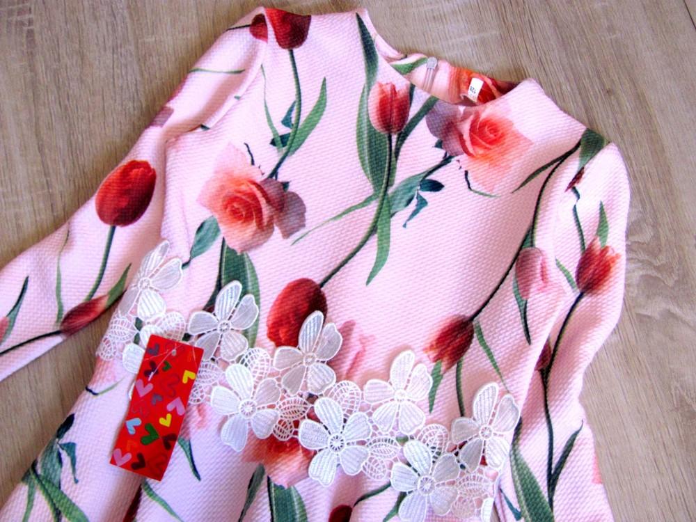 Р. 128-146 распродажа! детское платье с тюльпанами фото №2