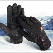 Перчатки ветрозащитные утепленные для сенсорных экранов lxy на замке анти-скольжение черные код 108