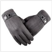 Мужские очень теплые перчатки серые мягкая кожа код 104