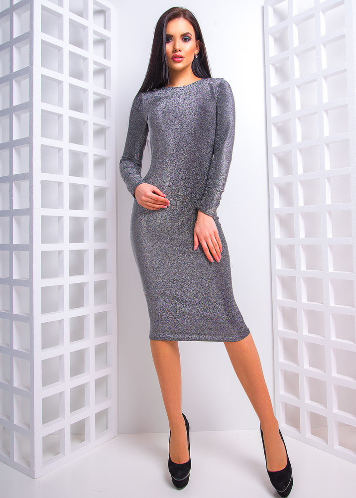 Идеальное платье-миди с люрекса фото №1