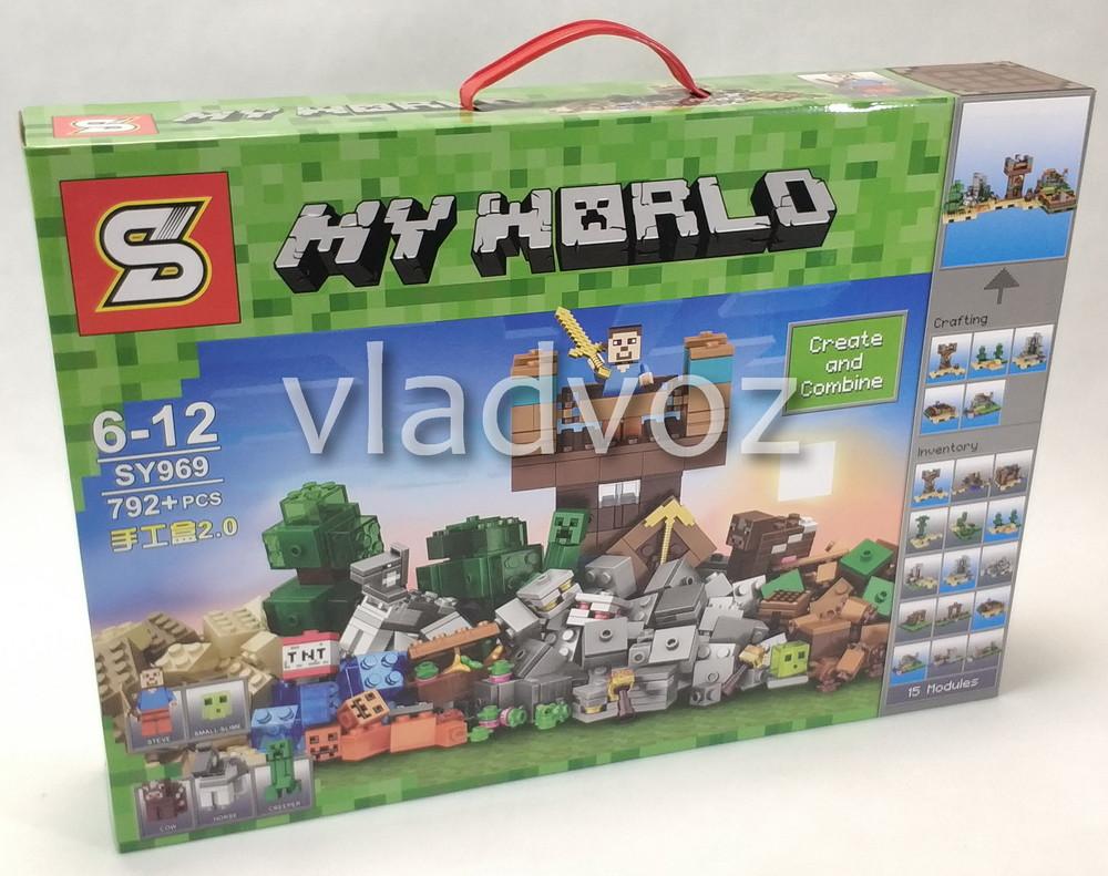 Игровой конструктор майнкрафт 15 отдельных модулей аналог my world 792 детали sy969 фото №1