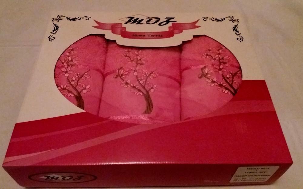 Подарочный набор махровых полотенец сакура, турция фото №1