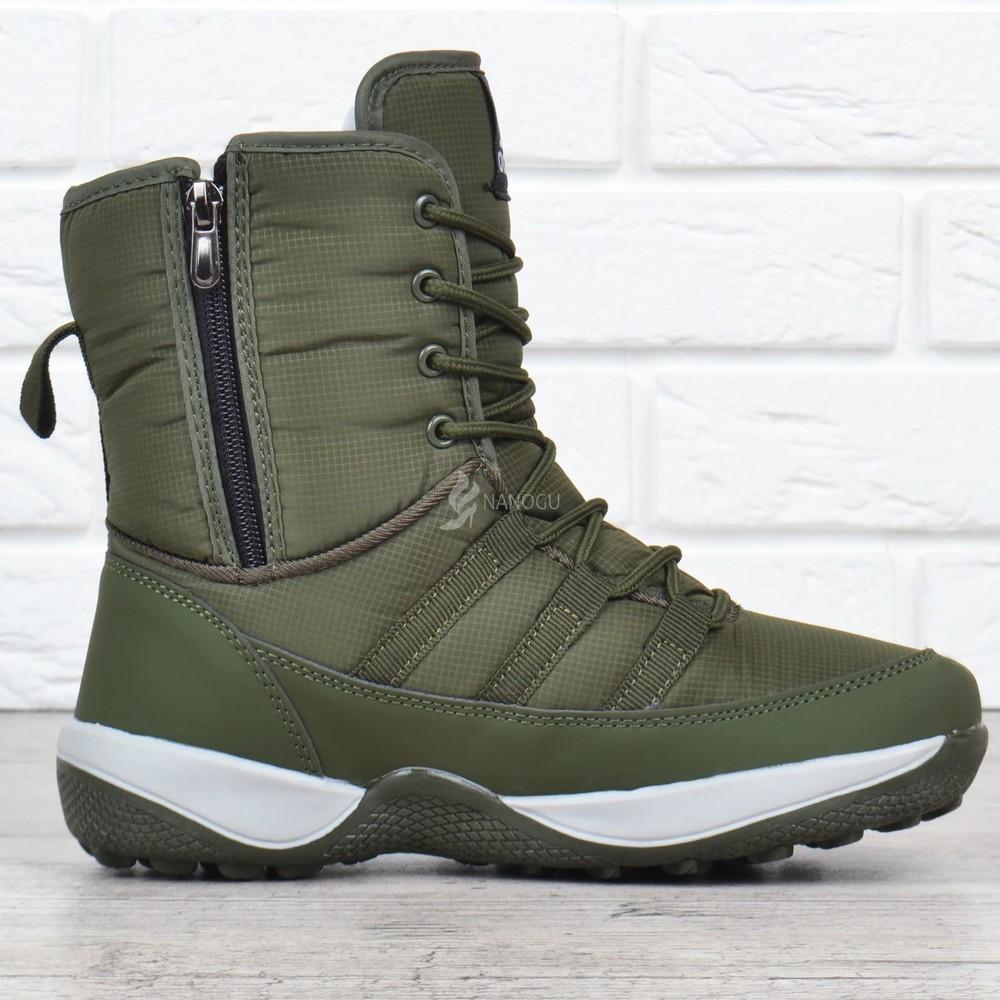 Дутики adidas terrex хаки женские спортивные ботинки на шнуровке фото №3