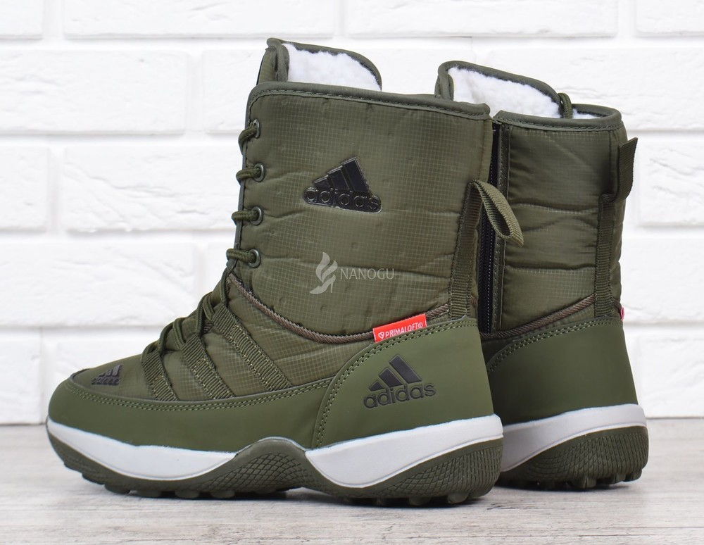 Дутики adidas terrex хаки женские спортивные ботинки на шнуровке фото №5