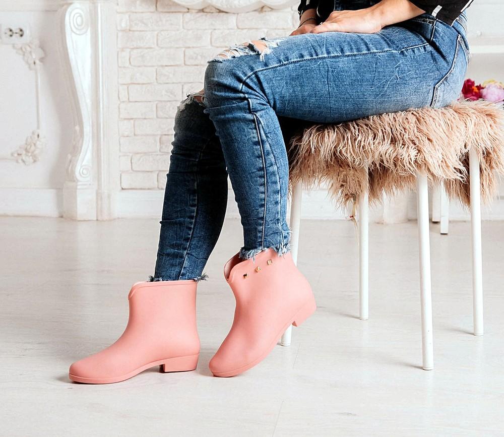 Короткие резиновые ботинки серого, черного, розового цветов_4395 фото №13