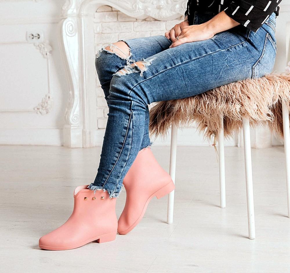 Короткие резиновые ботинки серого, черного, розового цветов_4395 фото №14