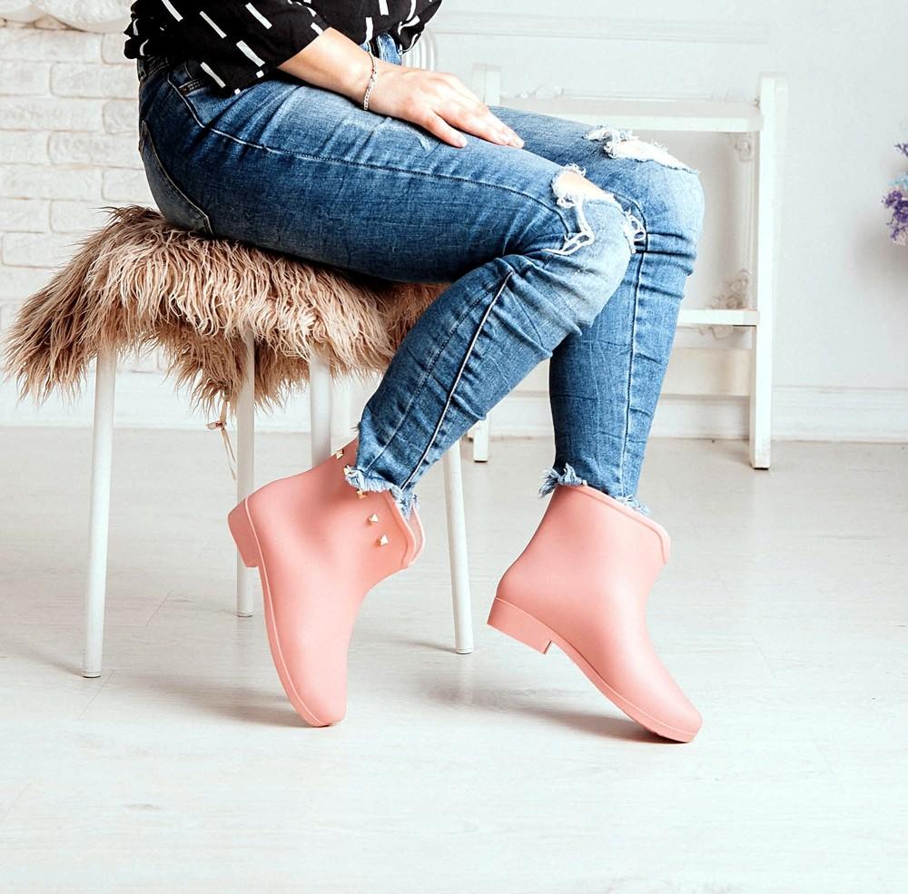 Короткие резиновые ботинки серого, черного, розового цветов_4395 фото №15