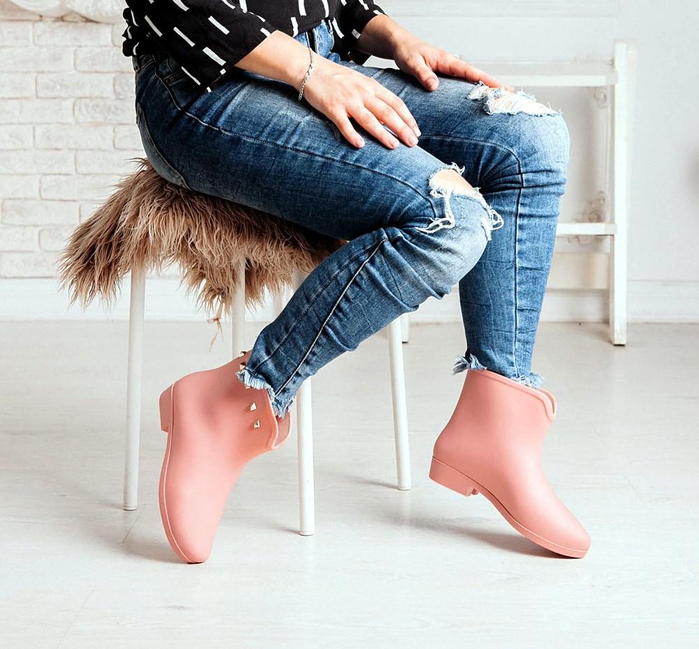 Короткие резиновые ботинки серого, черного, розового цветов_4395 фото №16