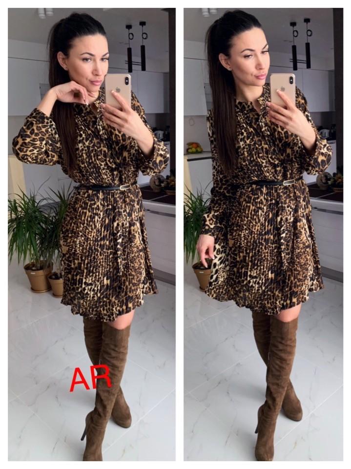 Платье плиссированное с хищним принтом фото №1
