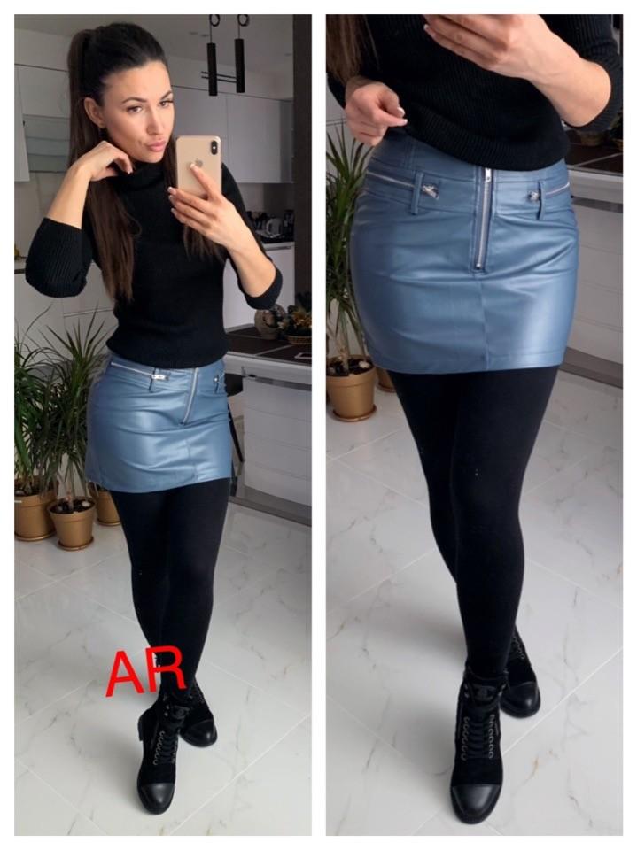 Женская стильная юбка из эко кожи фото №1
