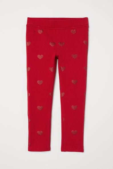 Треггинсы красные/блестящие сердца h&m для девочек 3-10 лет  фото №1