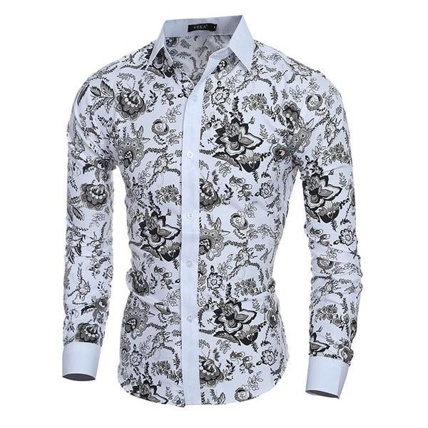 """Рубашка длинный рукав белая цветочный принт """"vska"""" фото №1"""